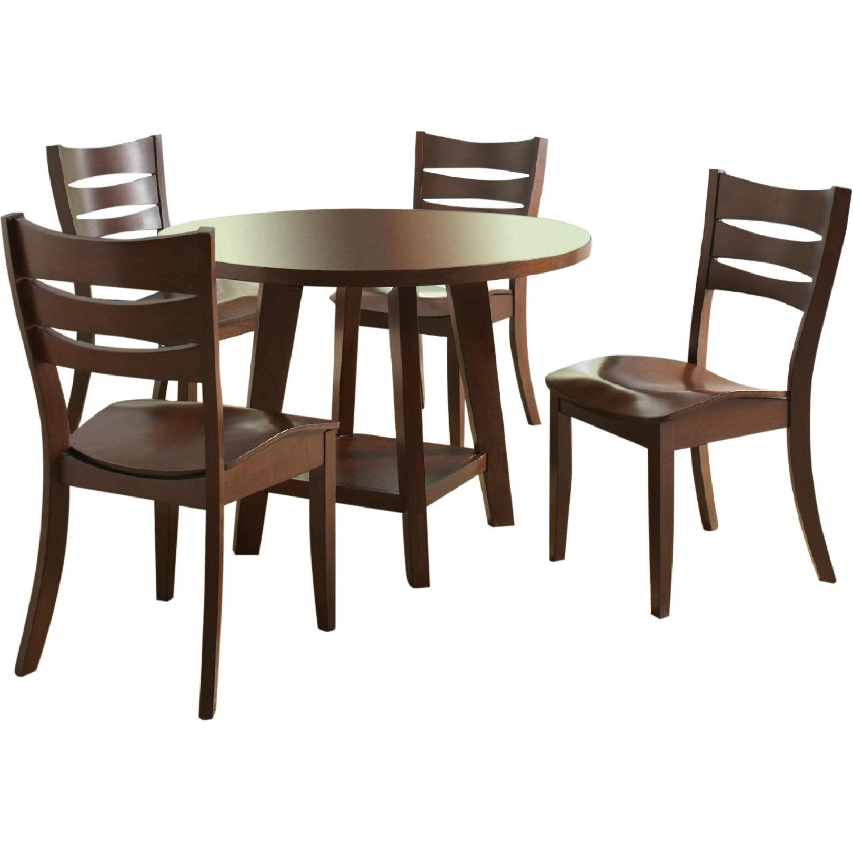 5 piece modern dining set in dark brown aptdeco for Brown dining table set