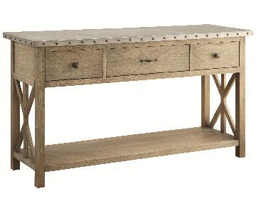 Rustic Sideboard in Drift Wood Finish w/ Zinc Board Top & Na