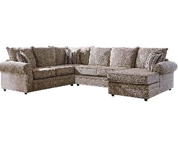 Sectional In Soft Chenille Fabric w/ High Density Foam Poick