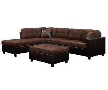 Sectional w/ Reversible Chaise & Tufted Seat/Back Cushions In Chocolate Microfiber Upholstery & Dark Brown Leatherette Base