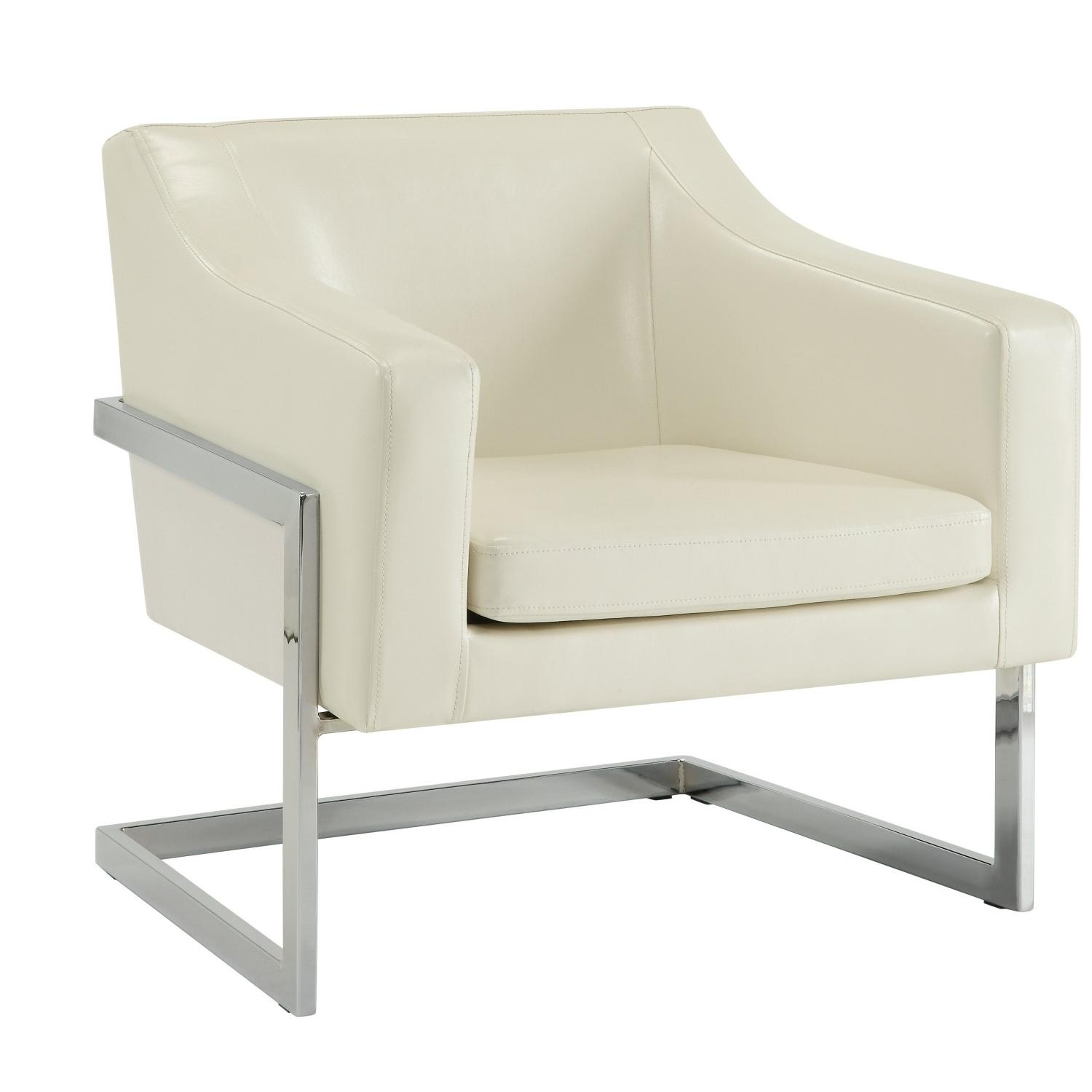 Contemporary Accent Chair in White Leatherette w/ Exposed Me
