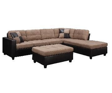 Sectional w/ Reversible Chaise & Tufted Seat/Back Cushions in Tan Microfiber Upholstery & Dark Brown Leatherette Base