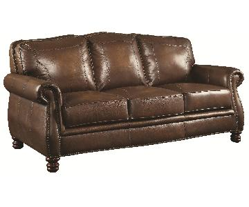 Stately Sofa in Full Hand-Rubbed Brown Leather w/ Rolled Arms & Nailhead Accent