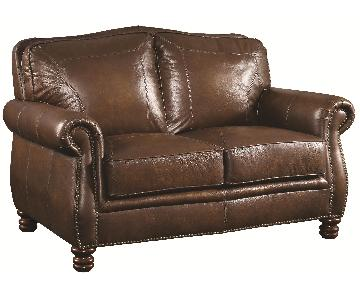 Stately Loveseat in Full Hand-Rubbed Brown Leather w/ Rolled