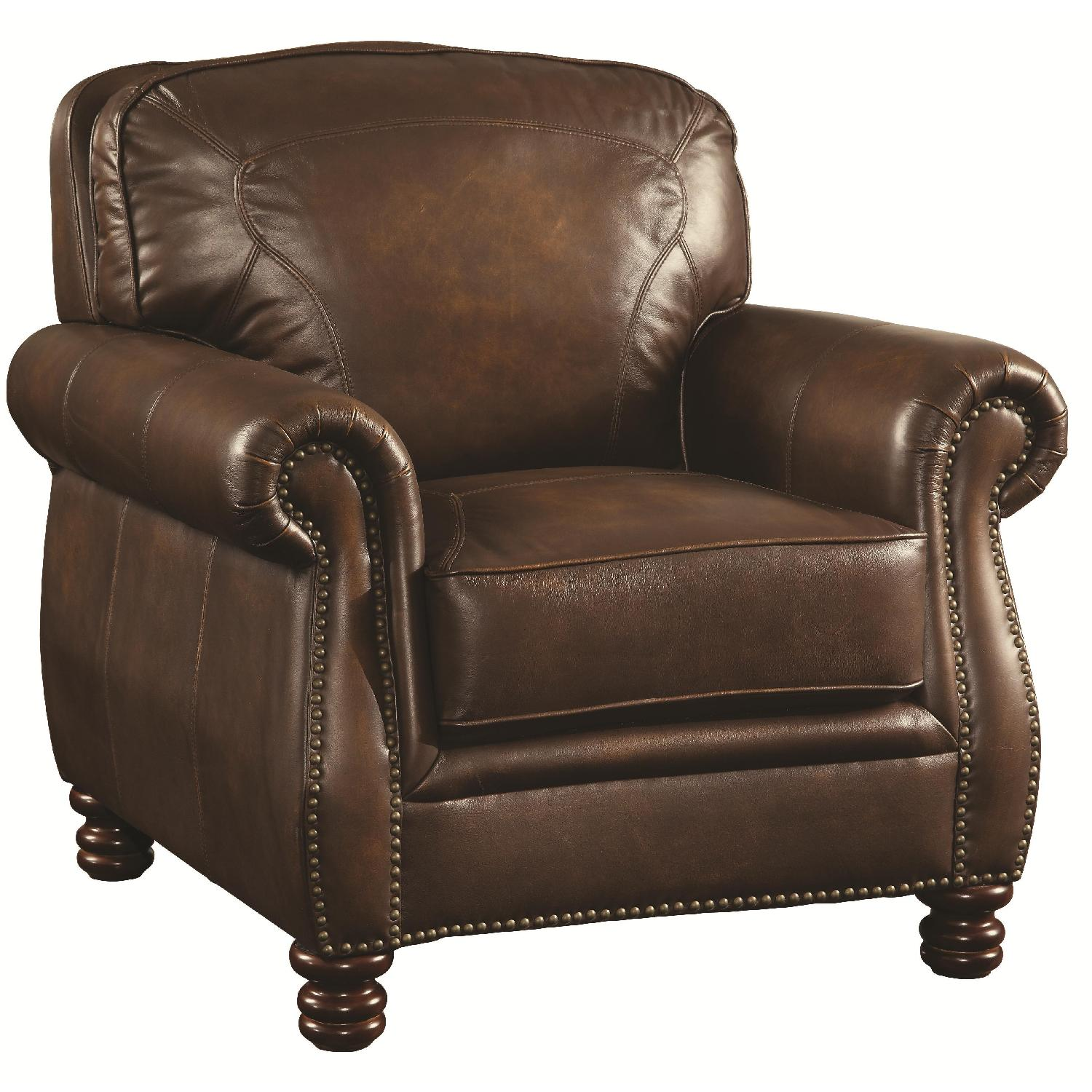 Stately Club Chair in Full Hand-Rubbed Brown Leather w/ Rolled Arms & Nailhead Accent