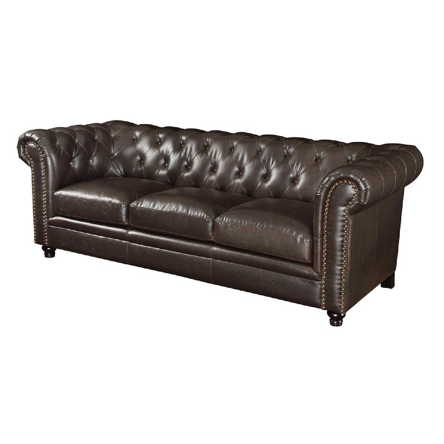 Chesterfield Style Sofa w/ Button Tufted Back & - AptDeco