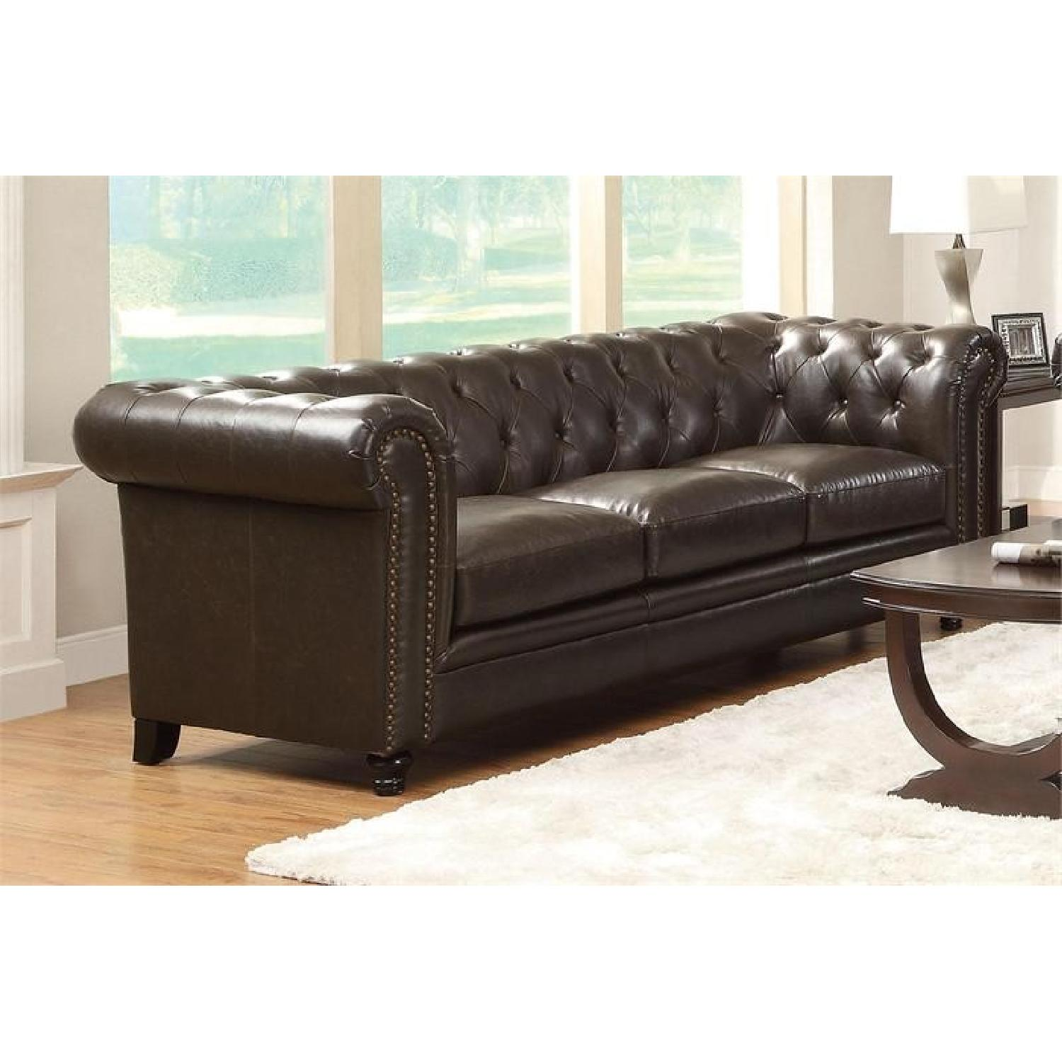 Chesterfield Style Sofa w/ Button Tufted Back & Feather/Down Filled  Cushions in Brown Bonded Leather Match