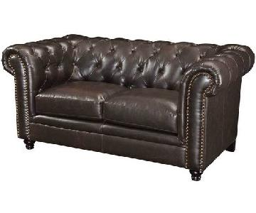 Chesterfield Style Loveseat w/ Button Tufted Back & Feather/