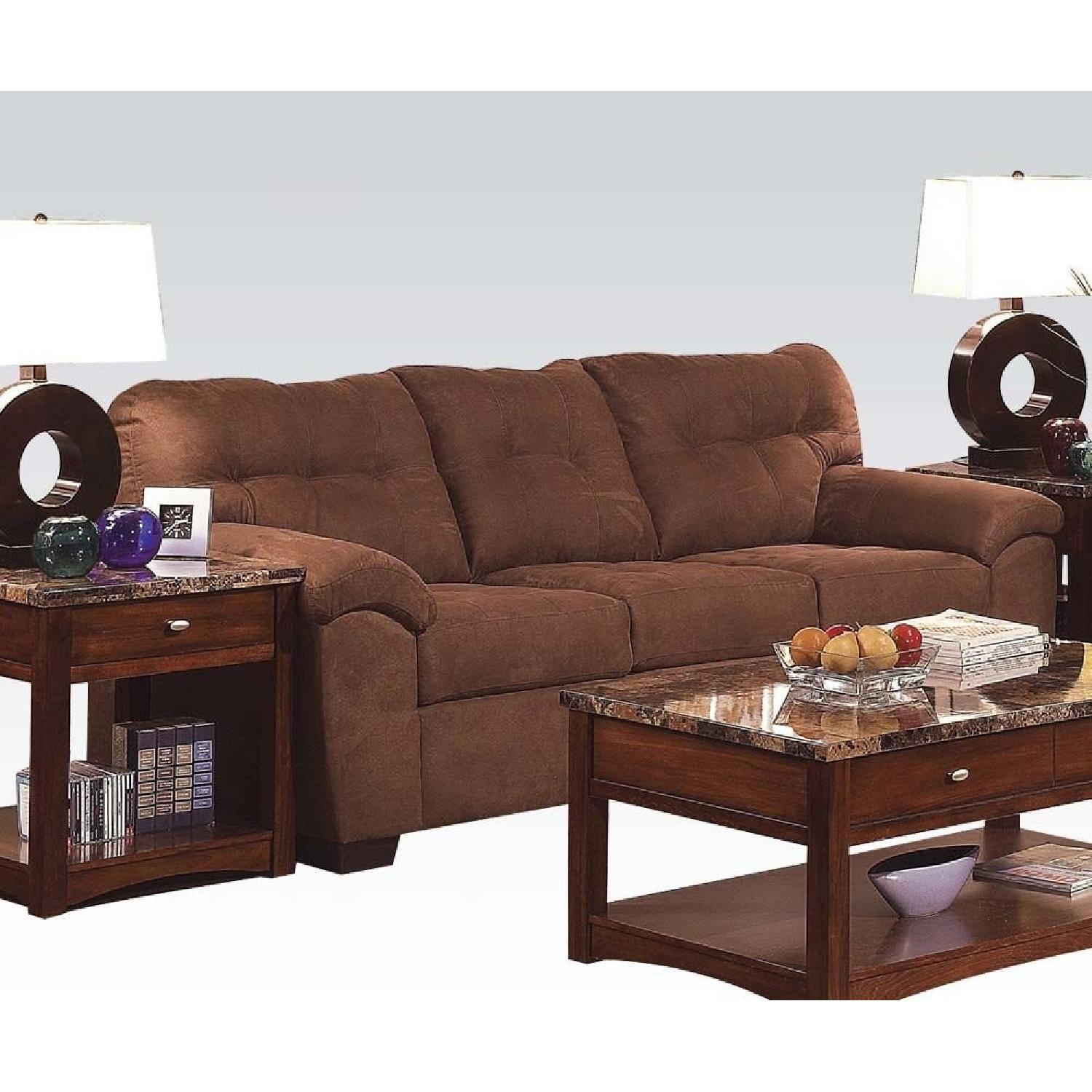 Brown Microfiber Sofa w/ Simmons Cushions w/ Tufted Seat/Back Design