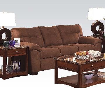 Brown Microfiber Sofa w/ Simmons Cushions w/ Tufted Seat/Back Design