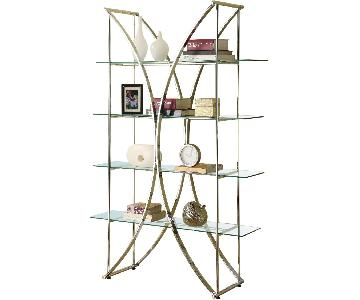 X-Motif Chrome Finish Display Unit w/ Floating Style Glass Shelves