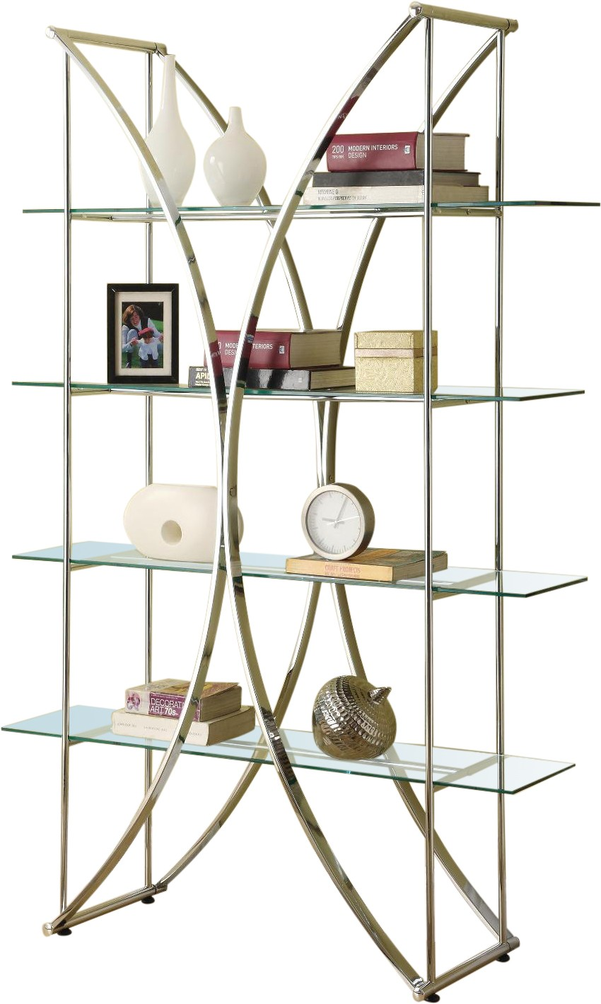 X-Motif Chrome Finish Display Unit w/ Floating Glass Shelves