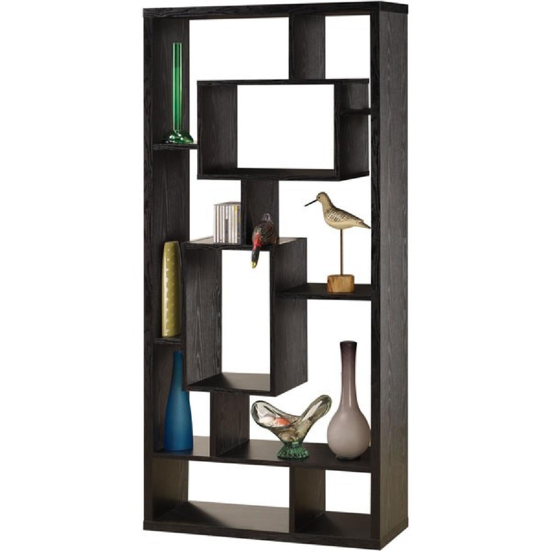 Asymmetrical Cube Black Book Case w/ Shelves