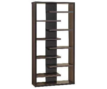Modern Bookcase w/ Interjecting Shelves Design & Center Back Panel in Cappuccino Finish