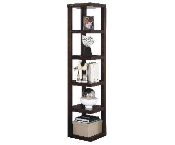 Contemporary Corner Bookcase In Cappuccino Finish