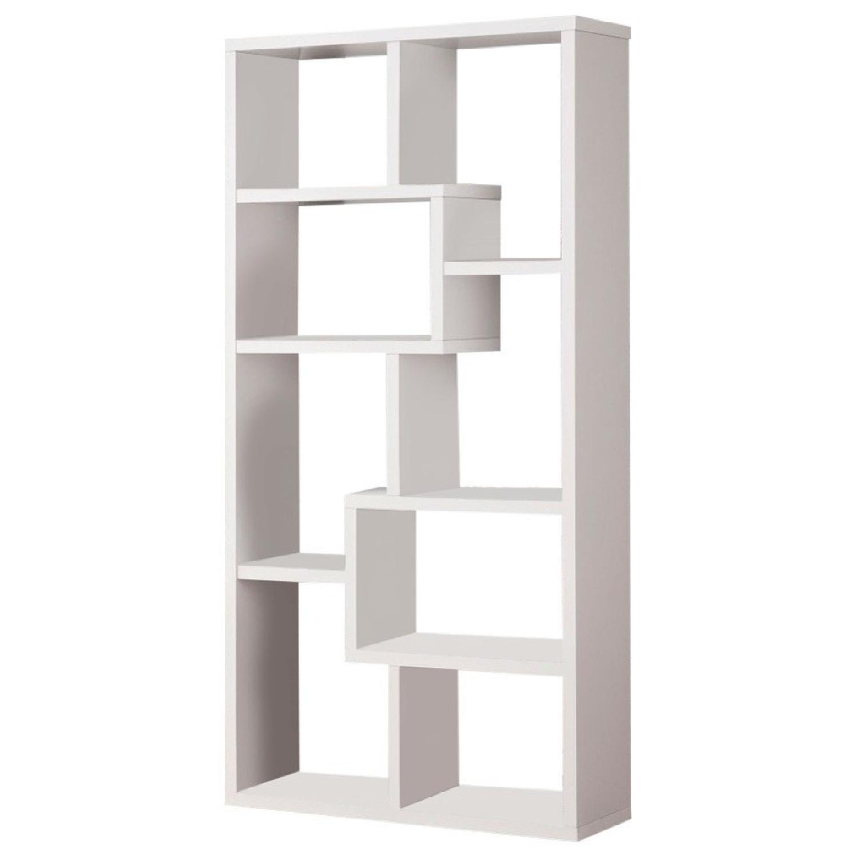 Contemporary Asymmetrical Cube Bookcase In White Finish