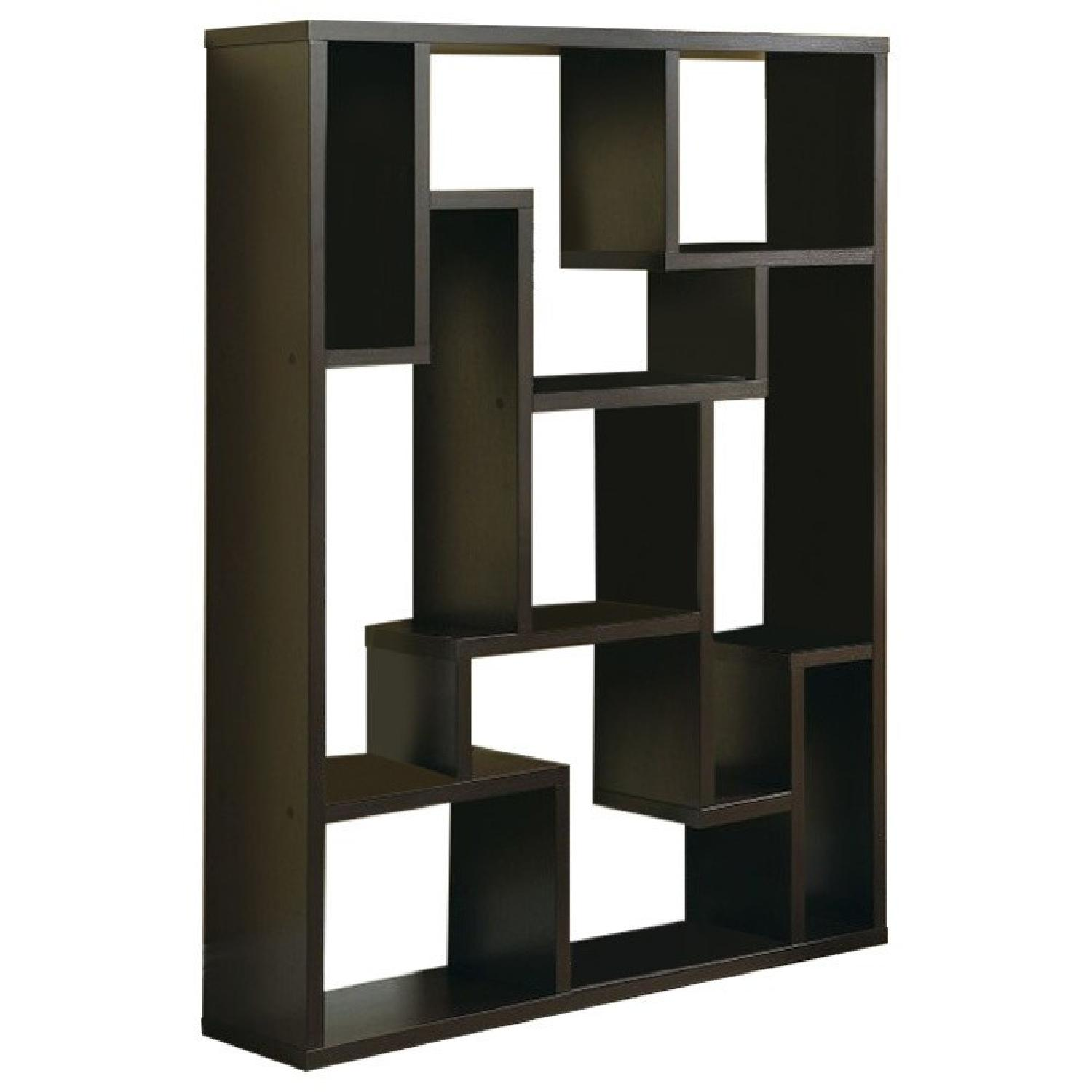 Contemporary Asymmetrical Bookshelf in Cappuccino Finish