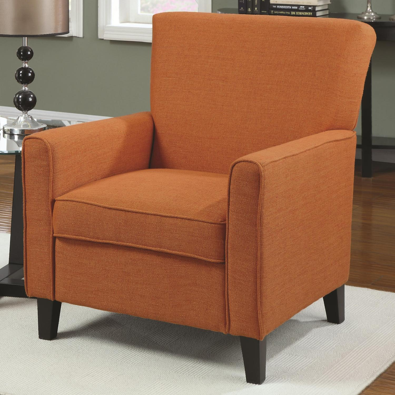 Accent Seating Orange Accent Chair With Contemporary: Accent Chair In Orange Woven Fabric W/ Tapered Arms