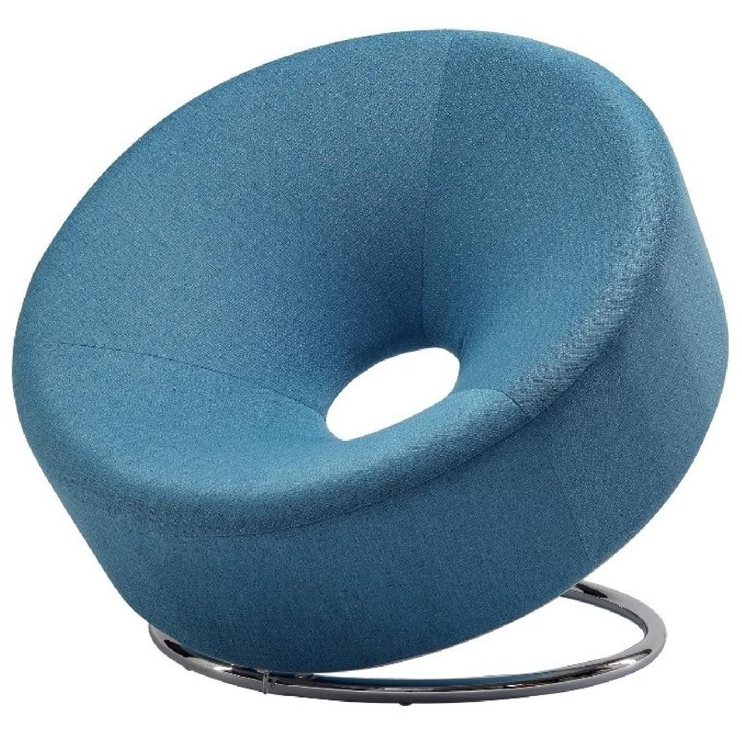 Round Contemporary Accent Chair in Blue Fabric