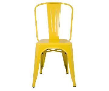Classic Style Stackable Indoor/Outdoor Steel Chair In Yellow