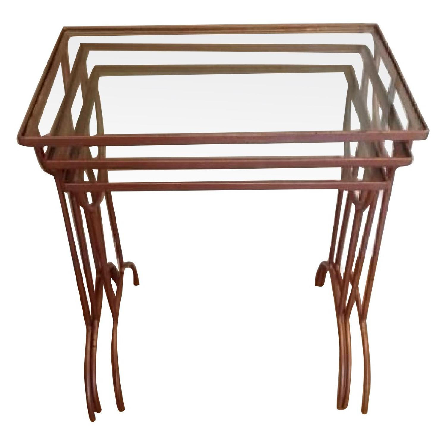 Nesting Glass And Metal Side Tables   Set Of 3 ...