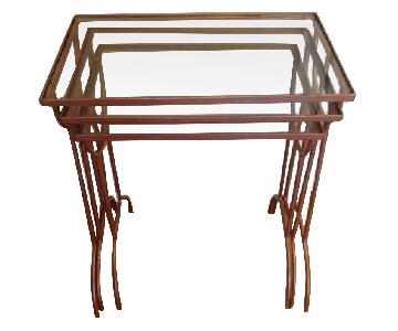 Nesting Glass and Metal Side Tables - Set of 3