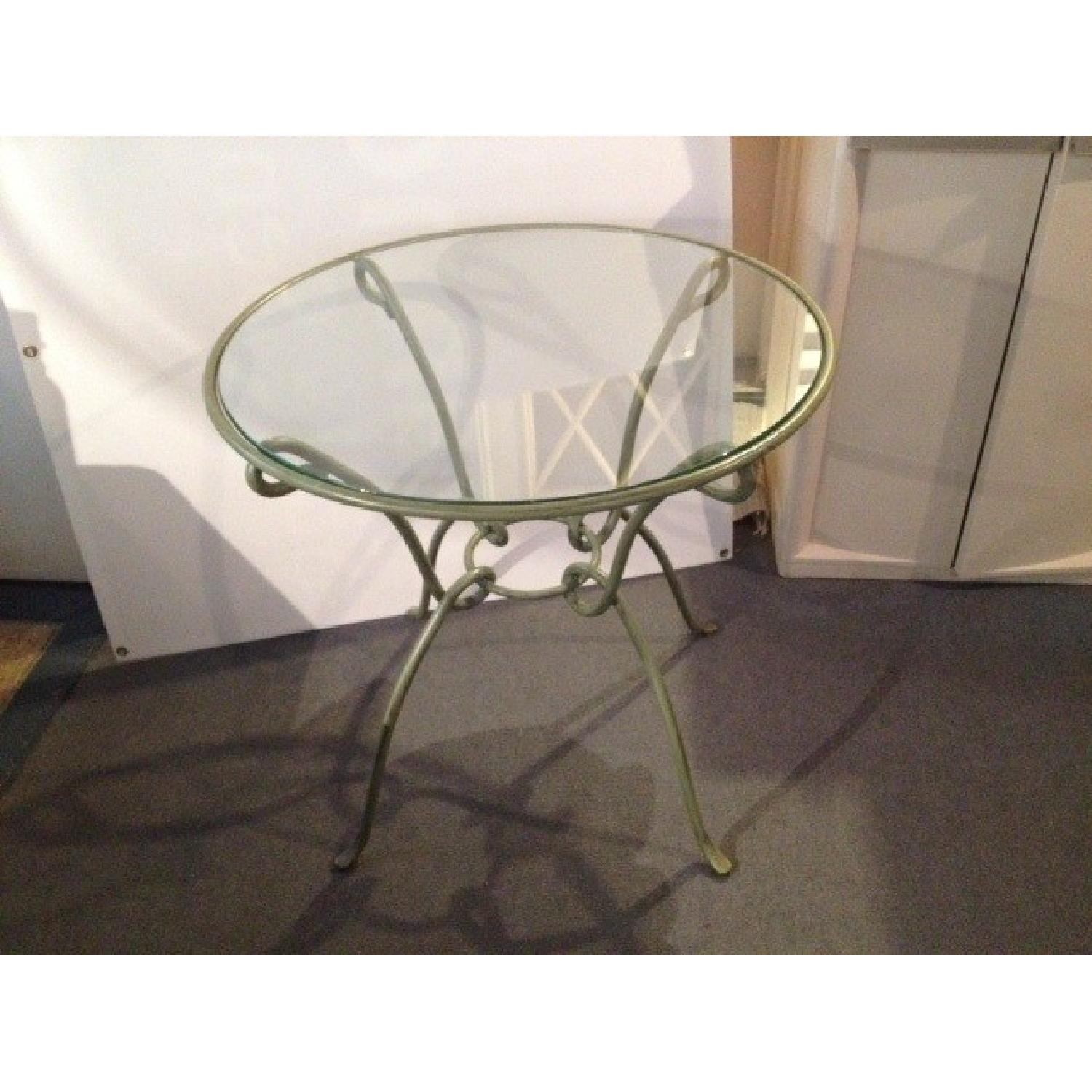 Pier 1 Round Kitchen Table w/ Metal Frame & Glass Top - image-1
