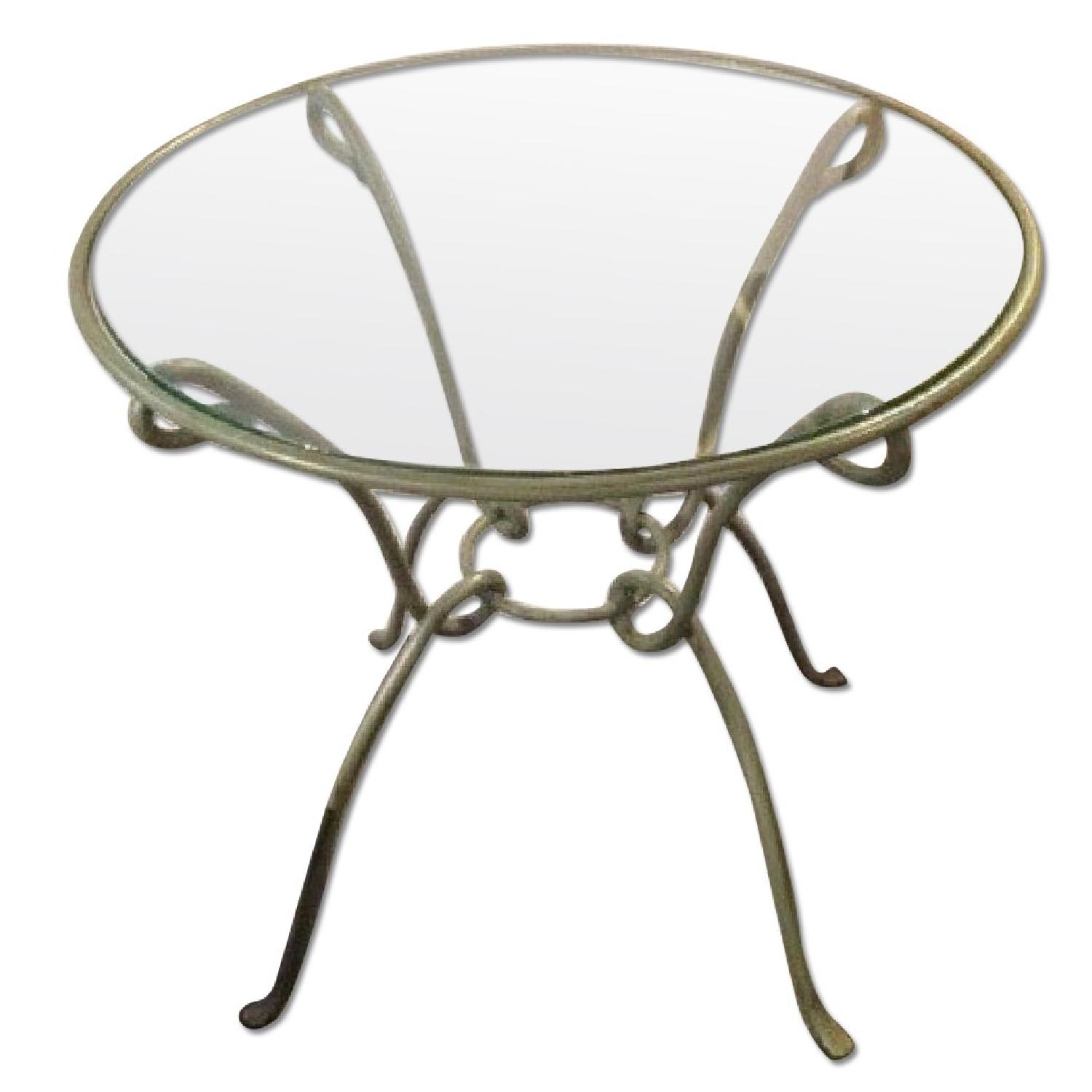 Pier 1 Round Kitchen Table w/ Metal Frame & Glass Top - image-0