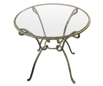 Pier 1 Round Kitchen Table w/ Metal Frame & Glass Top