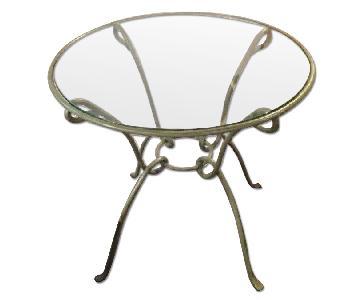 Pier 1 Round Kitchen Table w/ Metal Frame & Glass Top