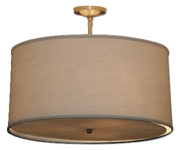 Custom Linen Shade Drum Style Ceiling Fixtures - Pair
