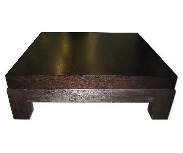 Crate & Barrel-Solid Wood Square Coffee Table