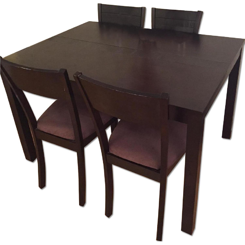 American Signature Furniture Dark Wood 5 Piece Dining Set Aptdeco