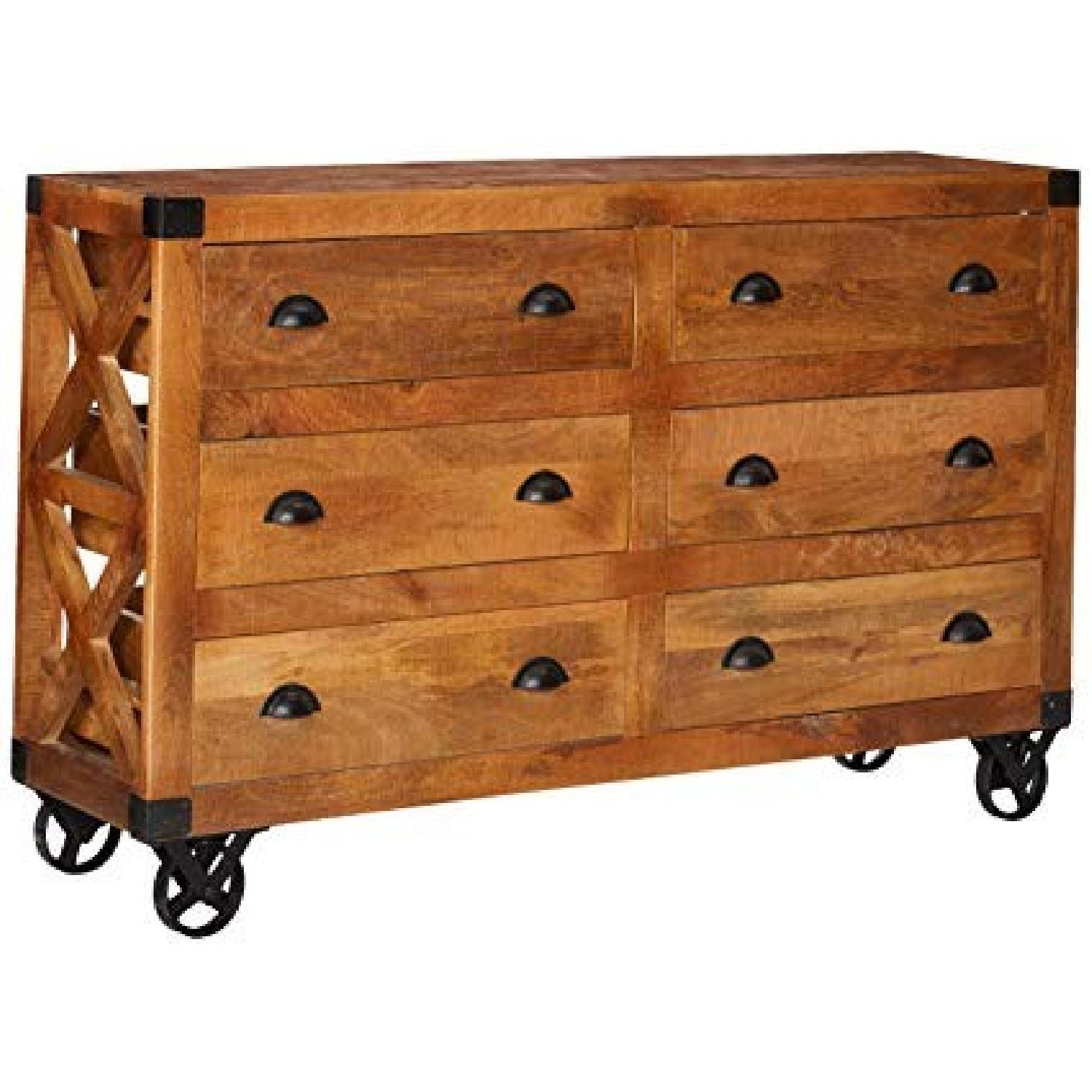 Industrial Solid Wood 6-Drawer Cabinet in Natural Finish