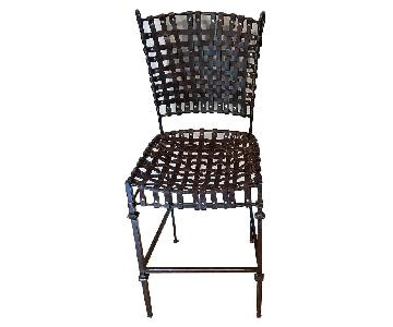 Antique Leather Woven Wrought Iron Stools
