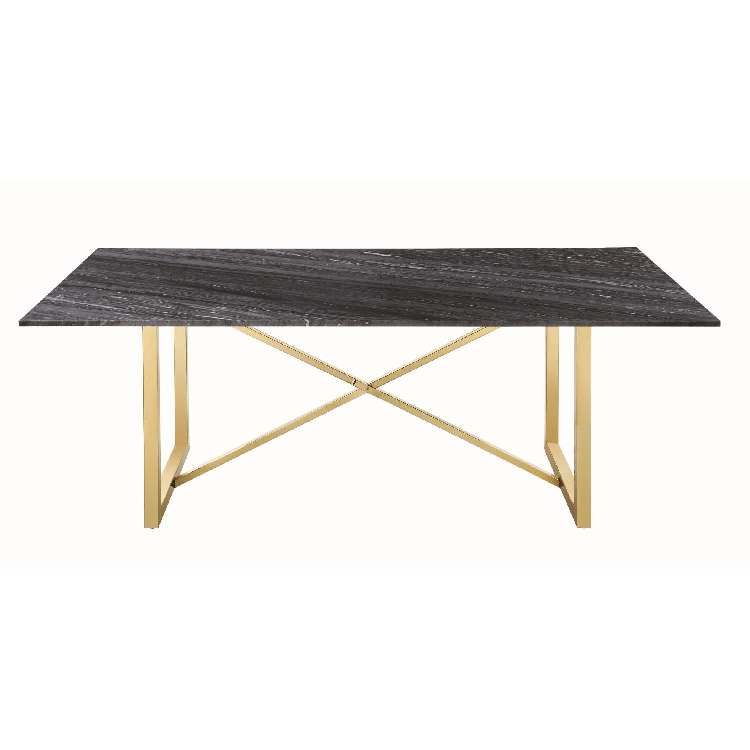 Dining Table w/ Black-Grey Marble Top & Gold Legs