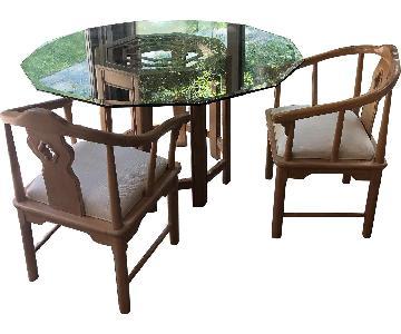 Stanley Oriental Modern Glass/Wood 6-Piece Dining Set