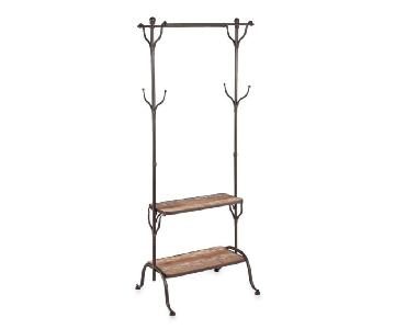 Southern Enterprises Metal Coat Stand w/ Wooden Shelves