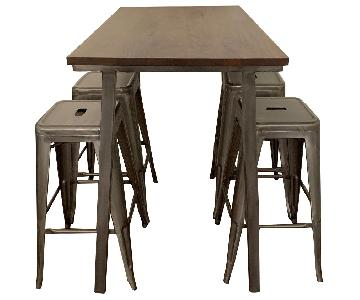 West Elm Mango Wood & Steel Standing Desk w/ 4 Stools