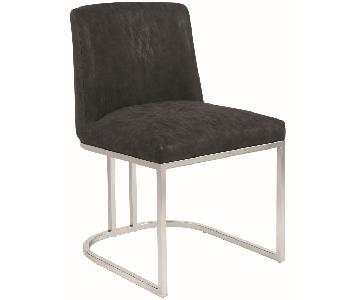 Modern Dining Chair in Black Leatherette w/ Chrome Legs