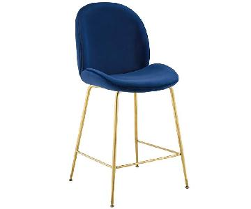 Dekea Velvet Upholstered Bar Stools w/ Backrest
