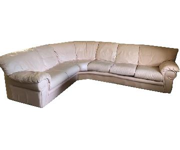 Maurice Villency Peach Leather Queen Sleeper Sectional Sofa
