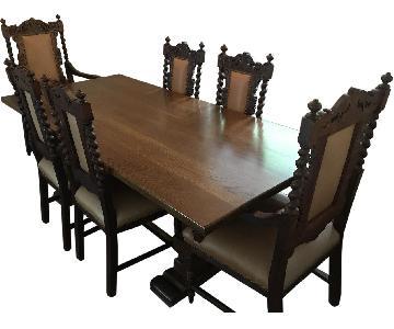 Antique Jacobean 7-Piece Dining Set