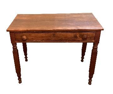 Vintage Wood Desk w/ 1 Full Width Drawer