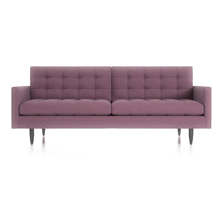 Crate & Barrel Petrie Mid Century Sofa in Purple