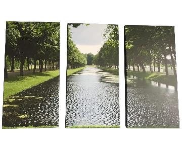Triptych Canvas Print of a German Garden