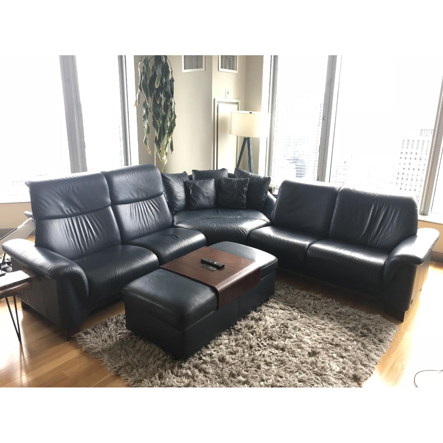 Ekornes 5 Piece Leather Sectional Sofa w/ Matching Ottoman