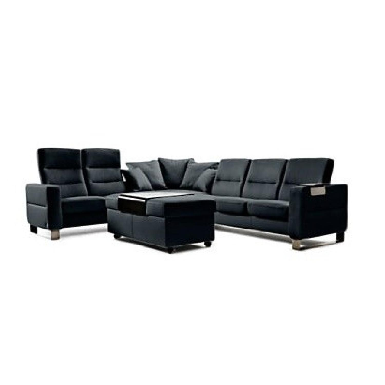 Ekornes 5 Piece Leather Sectional Sofa w/ Matching - AptDeco