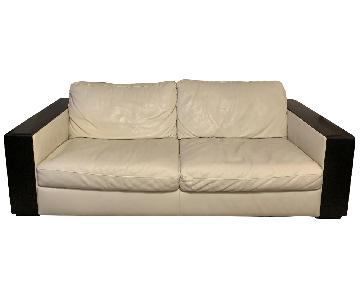 Natuzzi White Leather w/ Wood Sofa