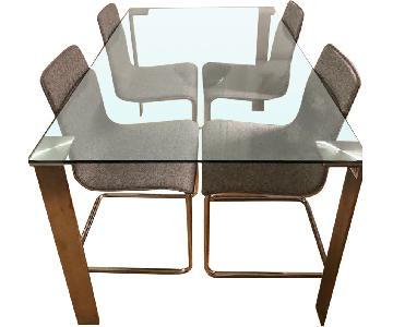 Crate & Barrel Glass & Stainless Steel 5-Piece Dining Set